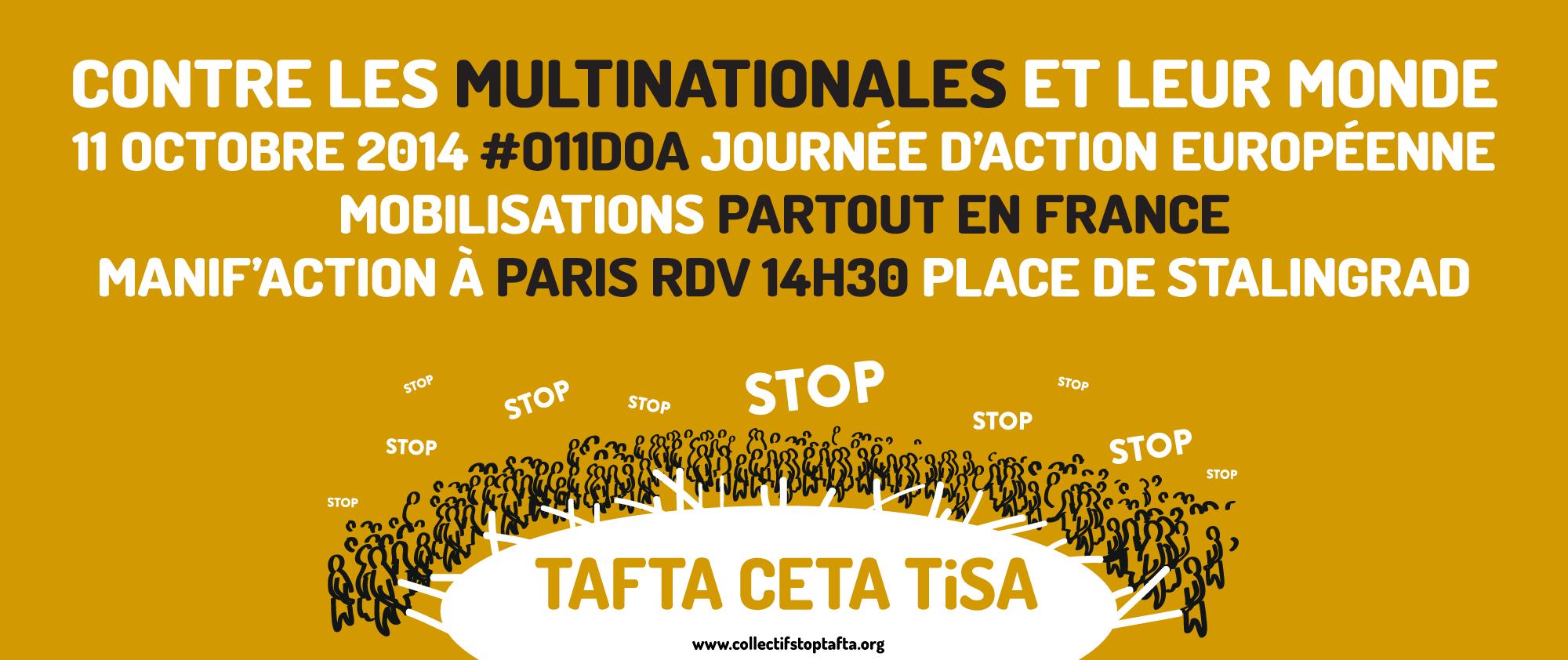 Journée européenne d'action contre le TAFTA le 11 octobre 2014